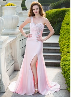 Trumpet/Mermaid One-Shoulder Sweep Train Satin Chiffon Prom Dress With Ruffle Beading Split Front