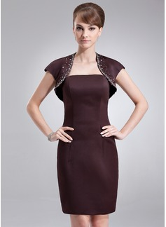 Kılıf Askısız Diz Hizası Satin Nedime Elbisesi