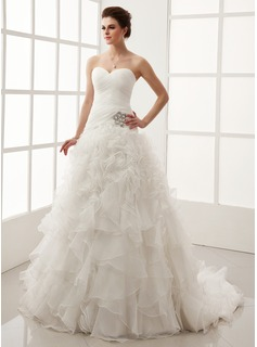 Ball-Gown Sweetheart Chapel Train Organza Satin Wedding Dress With Crystal Brooch Cascading Ruffles