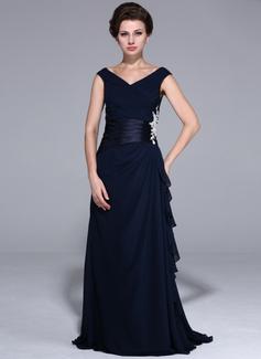 Vestidos princesa/ Formato A Sem o ombro Chá comprimento Chiffon Charmeuse Vestido para a mãe da noiva com Pregueado Beading (017026072)