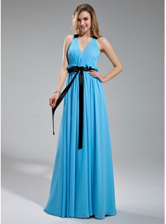 A-Line/Princess V-neck Floor-Length Chiffon Charmeuse Bridesmaid Dress With Ruffle Sash Bow(s)