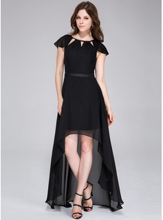 A-Line/Princess Scoop Neck Asymmetrical Chiffon Holiday Dress With Bow(s)