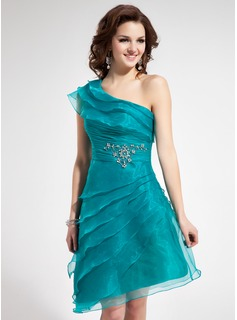 A-Line/Princess One-Shoulder Asymmetrical Organza Homecoming Dress With Ruffle Beading