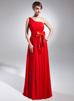 Çan/Prenses Tek-Omuzlu Uzun Etekli Chiffon Charmeuse Gelin Annesi Elbisesi
