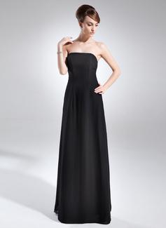 Çan/Prenses Askısız Uzun Etekli Chiffon Gelin Annesi Elbisesi