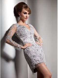 Sheath V-neck Short/Mini Tulle Charmeuse Cocktail Dress With Lace Beading Sequins