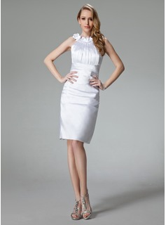 Sheath/Column Scoop Neck Knee-Length Charmeuse Cocktail Dress With Ruffle Flower(s)