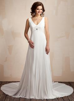 Corte A/Princesa Escote en V Cola capilla Chifón Vestido de novia con Encaje Bordado Plisado