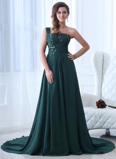 Vestidos princesa/ Formato A Um ombro Cauda corte Tecido de seda Vestidos de festa com Pregueado Bordado (017017349)