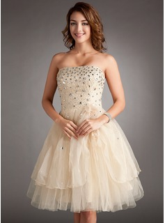 A-Line/Princess Strapless Knee-Length Organza Satin Tulle Homecoming Dress With Beading Flower(s) Cascading Ruffles