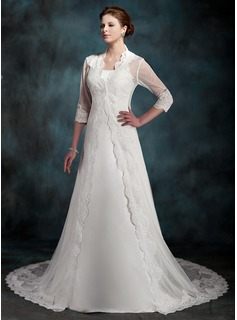 A-Line/Princess Chapel Train Satin Wedding Dress