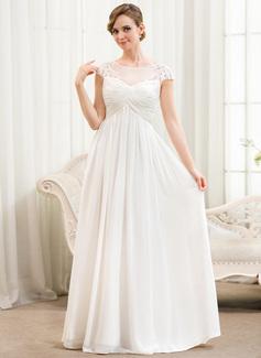 Forme Princesse Col rond Longueur ras du sol Mousseline Robe de mariée avec Plissé Motifs appliqués Dentelle