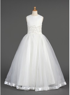 A-Line/Princess Floor-length Flower Girl Dress - Organza Sleeveless Scoop Neck With Lace/Beading
