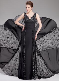 Vestidos princesa/ Formato A Decote V Cauda corte Tecido de seda Renda Vestidos de festa com Pregueado Bordado fecho de correr (017019765)