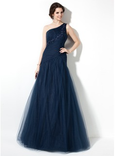 Mermaid One-Shoulder Floor-Length Tulle Prom Dress With Ruffle Lace Beading