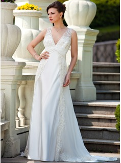 A-Line/Princess V-neck Court Train Chiffon Charmeuse Wedding Dress With Ruffle Lace Beading