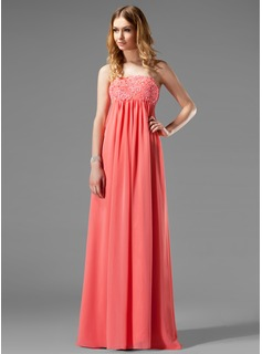 Empire Strapless Floor-Length Chiffon Holiday Dress With Ruffle Lace Beading