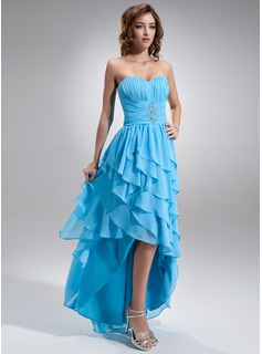 A-Line/Princess Sweetheart Asymmetrical Chiffon Prom Dress With Beading Cascading Ruffles
