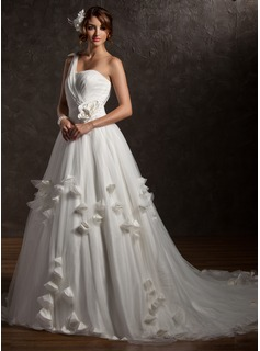 Ball-Gown One-Shoulder Chapel Train Satin Tulle Wedding Dress With Ruffle Beading Appliques Lace Flower(s)