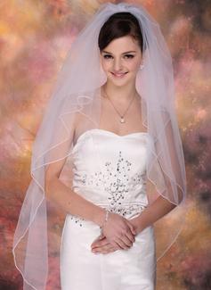Due strati Velare da sposa punta delle dita con Bordo smussato