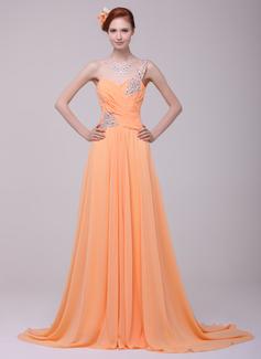 A-Line/Princess One-Shoulder Court Train Chiffon Prom Dress With Ruffle Beading
