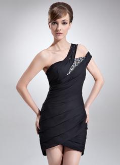 Etui-Linie One-Shoulder-Träger Asymmetrisch Chiffon Cocktailkleid mit Rüschen Perlen verziert