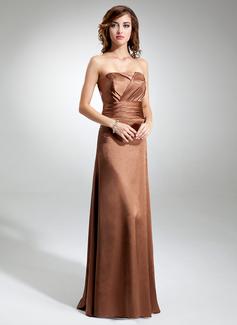 Çan/Prenses Askısız Uzun Etekli Charmeuse Nedime Elbisesi Ile Büzgü