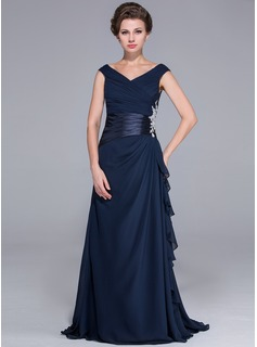 A-Line/Princess Off-the-Shoulder Sweep Train Chiffon Charmeuse Mother of the Bride Dress With Ruffle Beading Appliques