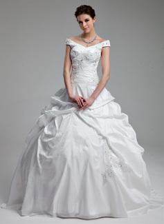 Corte de baile Hombros caídos Barrer/Cepillo tren Tafetán Vestido de novia con Volantes Bordado Lentejuelas