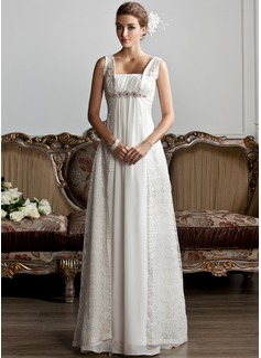 A-linjeformat Square Urringning Sweep släp Chiffong Spetsar Bröllopsklänning med Rufsar Pärlbrodering