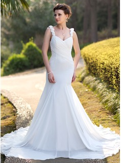 Mermaid Sweetheart Chapel Train Chiffon Wedding Dress With Ruffle Beadwork