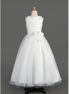 A-Line/Princess Floor-length Flower Girl Dress - Taffeta/Organza Sleeveless Scoop Neck With Ruffles/Flower(s)/Bow(s)