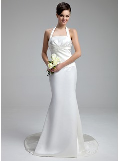 Mermaid Halter Court Train Satin Wedding Dress With Ruffle