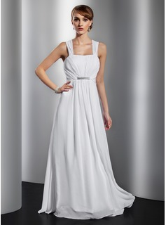 A-Line/Princess Floor-Length Chiffon Evening Dress With Ruffle Beading Bow(s)