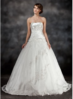 Ball-Gown Sweetheart Sweep Train Charmeuse Tulle Wedding Dress With Ruffle Beading Appliques Lace