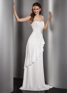 A-linjeformat Hjärtformad Golvlång Chiffong Bröllopsklänning med Pärlbrodering Svallande Krås