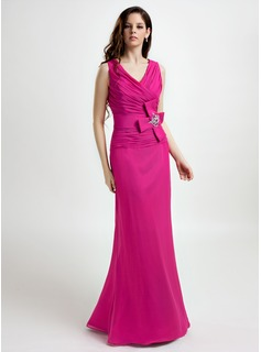 A-Line/Princess V-neck Floor-Length Chiffon Bridesmaid Dress With Ruffle Beading Flower(s)