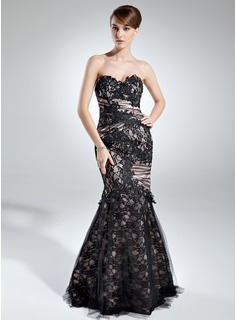 Trumpet/Mermaid Sweetheart Floor-Length Charmeuse Lace Mother of the Bride Dress With Ruffle
