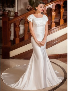 Mermaid Square Neckline Chapel Train Satin Wedding Dress With Ruffle Lace Beadwork