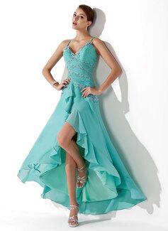 Princesový Srdcový výstřih Asymetrické Chiffon Šaty na školní ples S Volán Zdobení korálky Nášivky Flitry