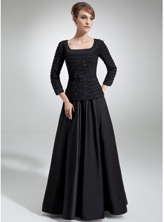 A-Line/Princess Square Neckline Floor-Length Chiffon Satin Mother of the Bride Dress With Ruffle Beading