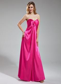 Imperialna Kochanie Do Podłogi Charmeuse Suknia dla Druhny Z Żabot