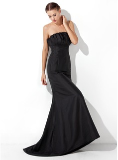Trumpet/Mermaid Scalloped Neck Sweep Train Taffeta Evening Dress With Ruffle