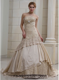 Ball-Gown Strapless Chapel Train Satin Wedding Dress With Ruffle Crystal Brooch Sequins
