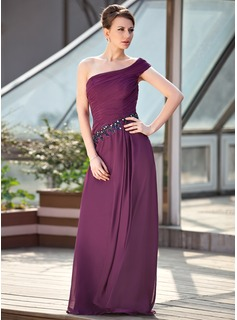A-Line/Princess One-Shoulder Floor-Length Chiffon Mother of the Bride Dress With Ruffle Beading Sequins