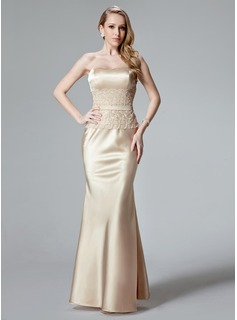Mermaid Sweetheart Floor-Length Charmeuse Evening Dress With Lace