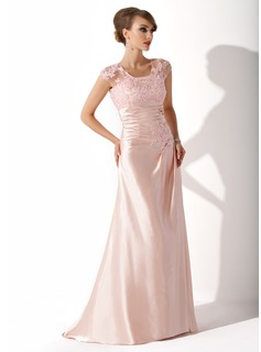 Sheath Scoop Neck Sweep Train Charmeuse Lace Mother of the Bride Dress With Ruffle Beading Sequins