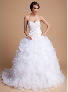 Ball-Gown Sweetheart Chapel Train Organza Satin Wedding Dress With Beading Sequins Cascading Ruffles