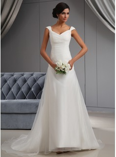 A-Line/Princess Off-the-Shoulder Court Train Organza Wedding Dress With Ruffle (002022664)
