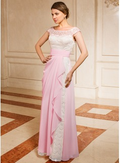 A-Line/Princess Off-the-Shoulder Floor-Length Chiffon Lace Mother of the Bride Dress With Ruffle Beading